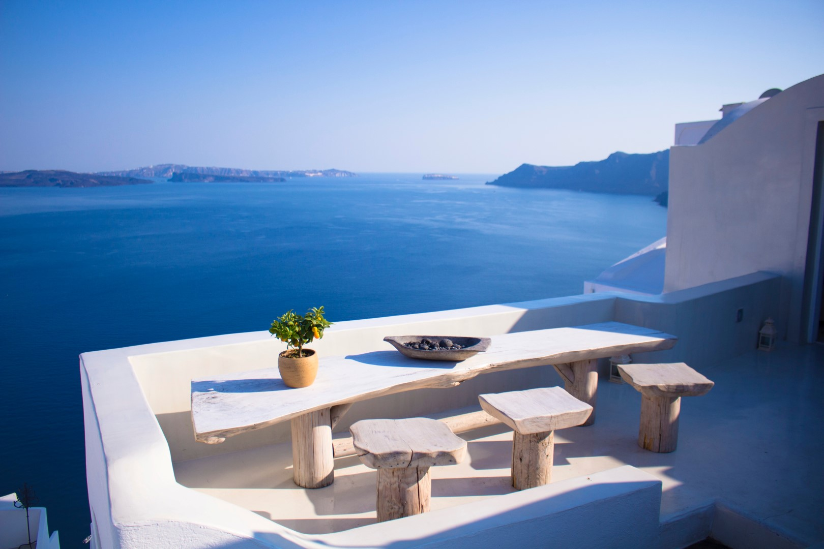 santorini boutique hotel with a terrace overlooking sea