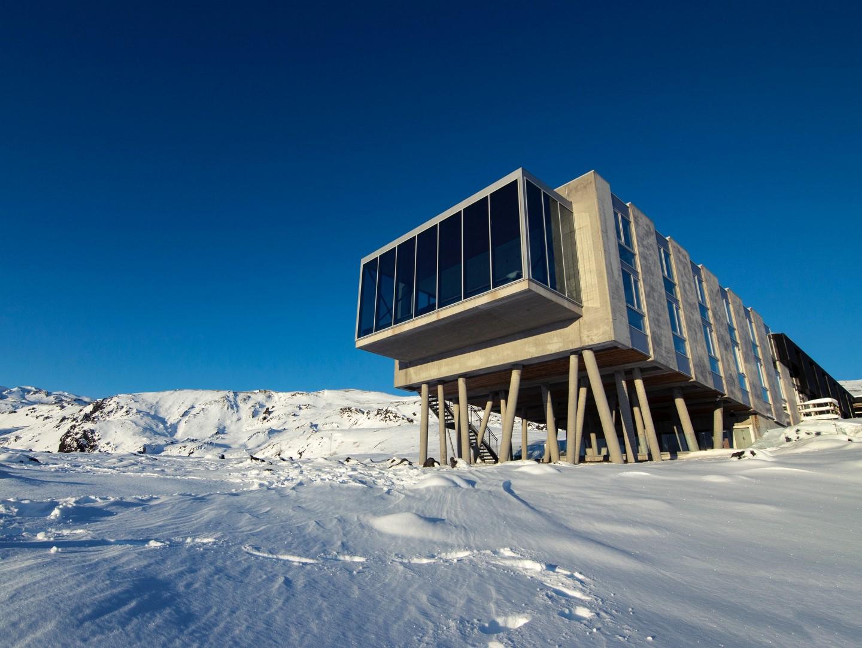 ski destination on a sunny day
